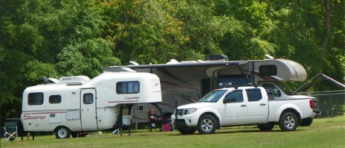 image of truck and pull up camper